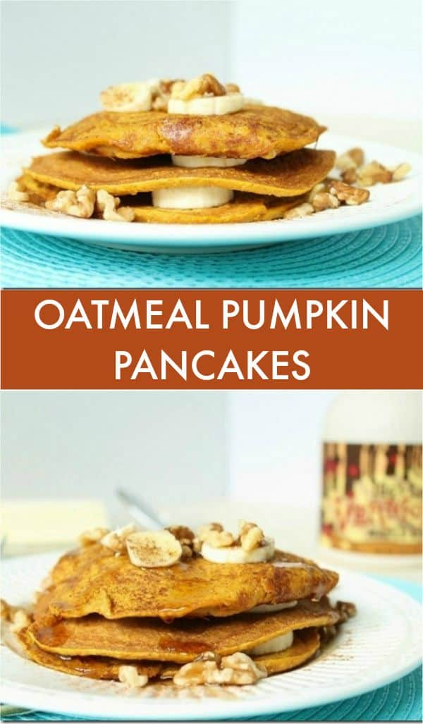 Hearty oat flour makes these oatmeal pumpkin pancakes a delicious gluten-free stack.