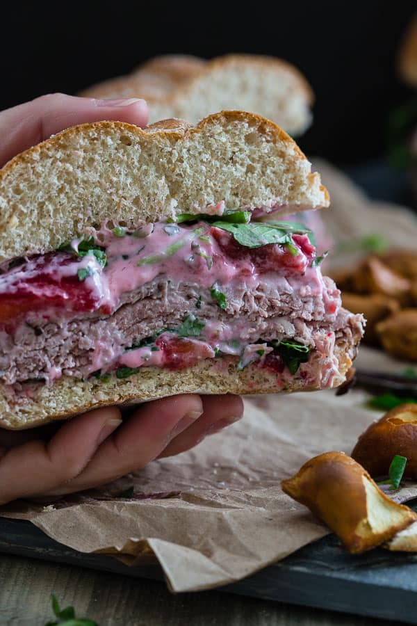 Roast Beef Sandwich with Strawberry Goat Cheese