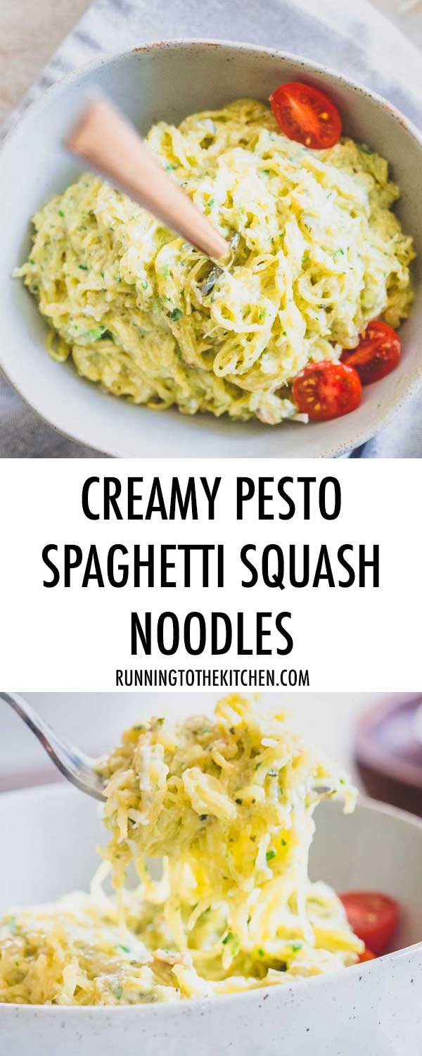 Try these healthier creamy pesto spaghetti squash noodles when you're craving comfort food but don't want to blow your diet.