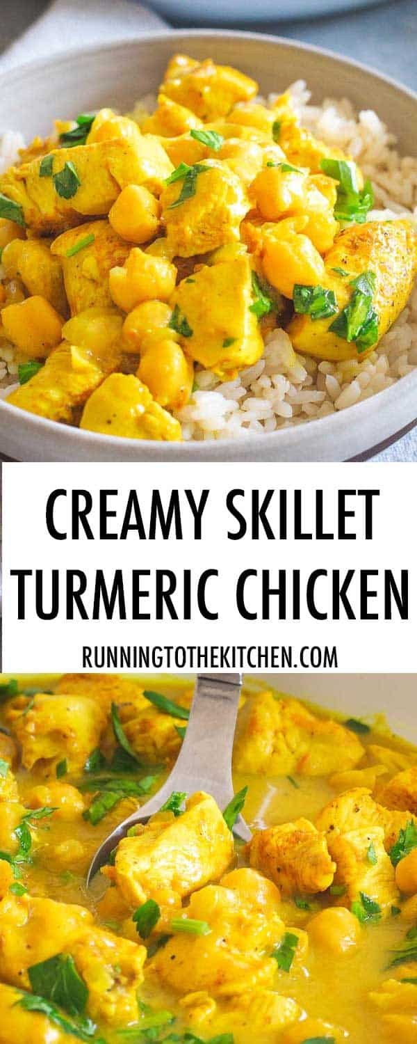 Chicken and turmeric combine in this easy one pan dinner made in just 30 minutes.