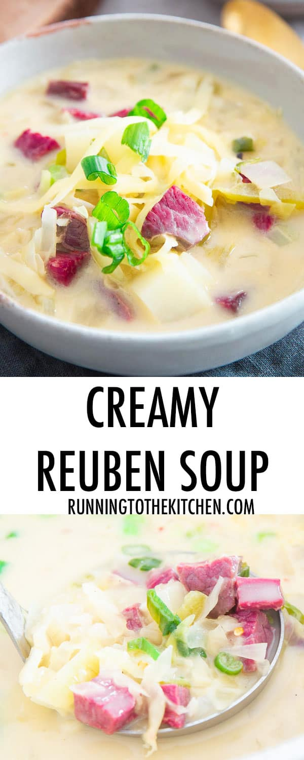 This simple stove top Reuben soup recipe will satisfy that corned beef craving in a creamy delicious way!