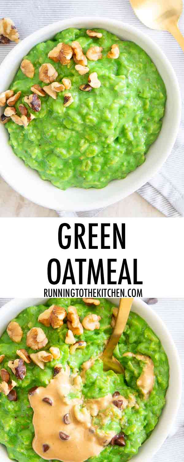 Try green oatmeal for a healthy, delicious and fun start to the day. Perfect for anyone wanting to celebrate St. Patrick's Day without green food dye!