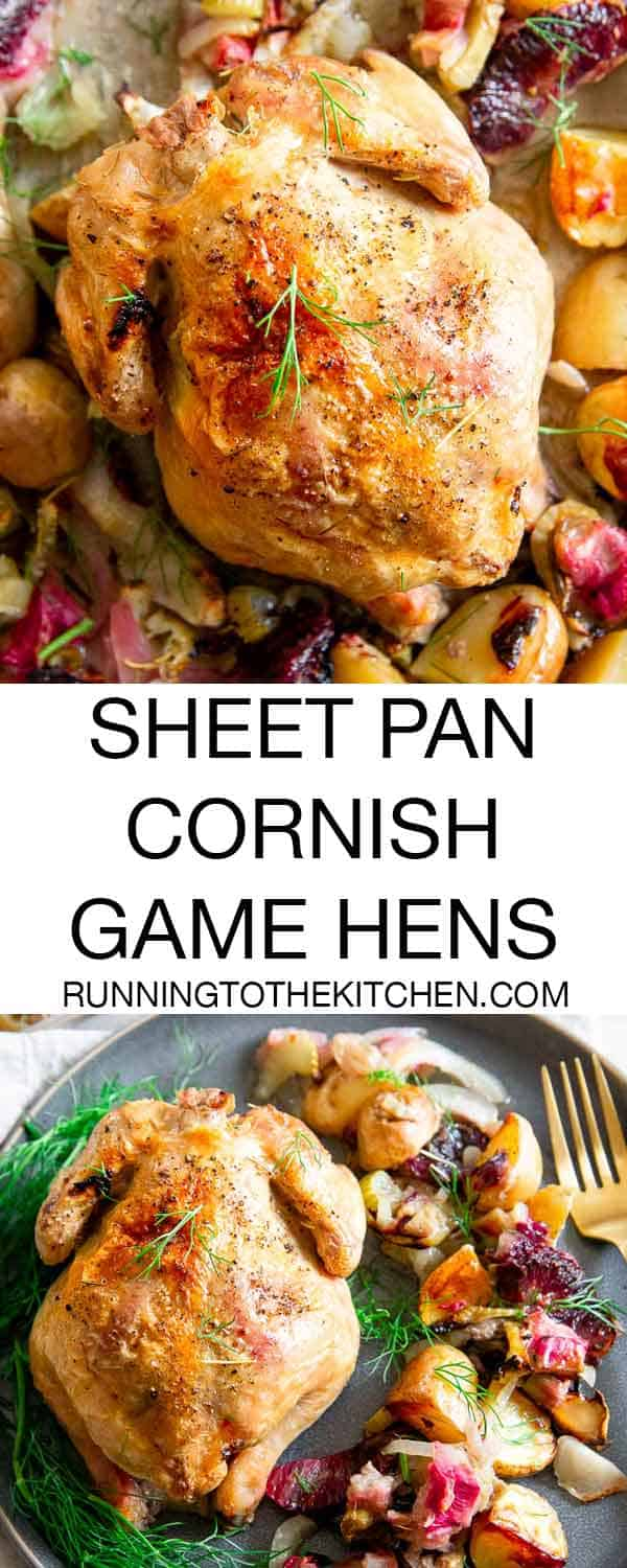 Roasting Cornish Hens on a sheet pan with potatoes, rhubarb, fennel and blood oranges makes an easy, delicious and impressive spring dinner, even perfect for Easter!