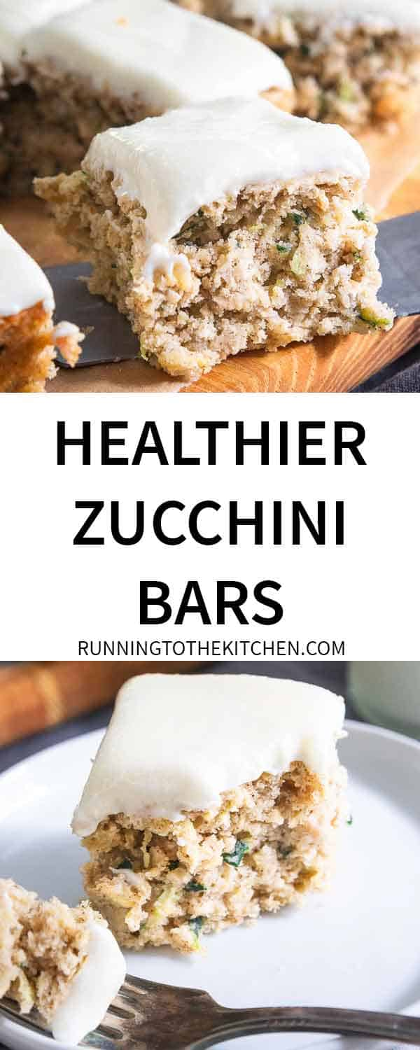 Make a batch of these healthier zucchini bars with cream cheese frosting for snacks and dessert all week long.