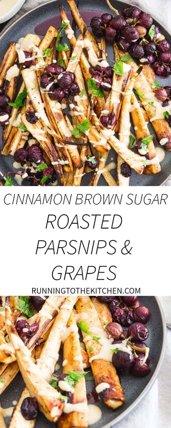 Looking for a special side dish to impress during the holidays? These cinnamon brown sugar roasted parsnips and grapes with a sweet maple hummus drizzle are it!