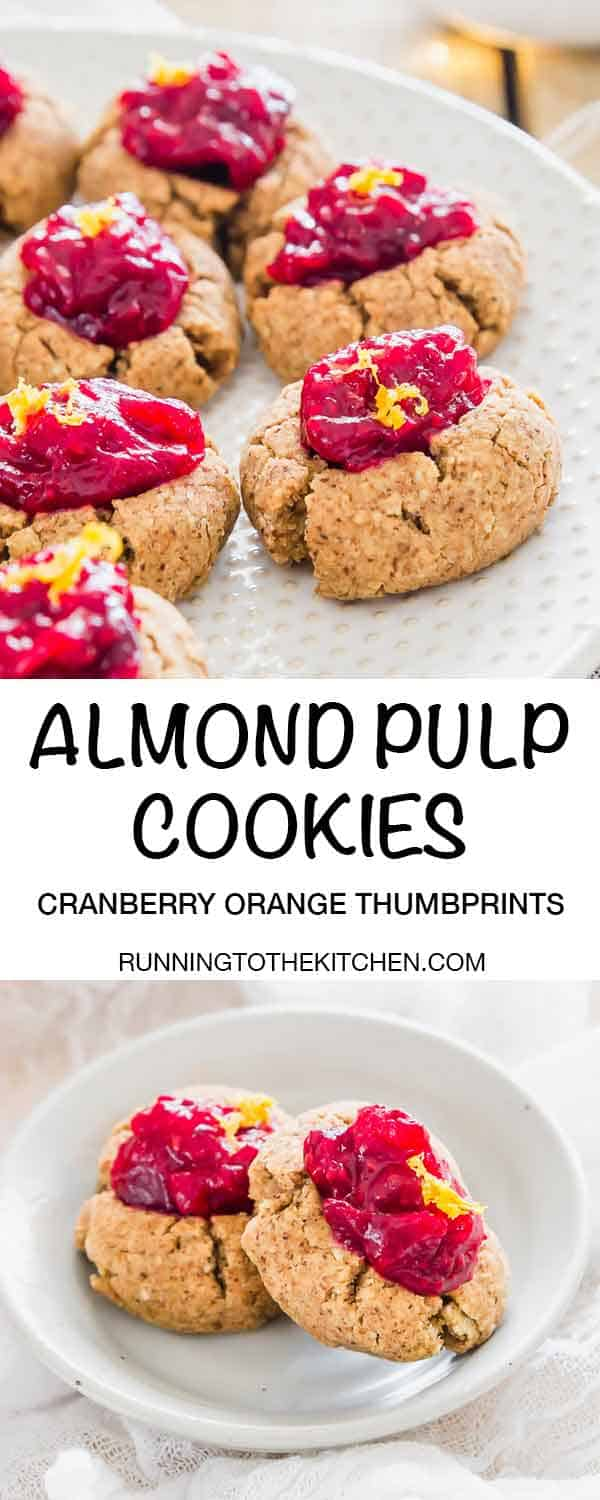 Thumbprint cookies are a great way to use up leftover almond pulp from making almond milk at home. Fill them with this easy cranberry orange fruit jam made on the stovetop in minutes. #almondpulpcookies #almondcookies #thumbprintcookies