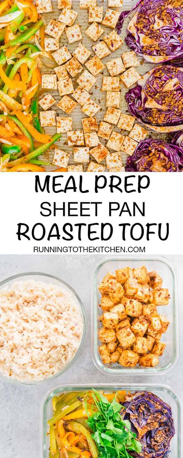 Meal prep this roasted tofu on your sheet pan along with cabbage, peppers and onions and serve with rice for easy plant based meals throughout the week. #mealprep #sheetpandinner #roastedtofu #sheetpantofu #mealpreptofu