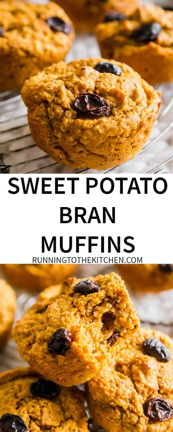 Easy to make gluten-free & vegan sweet potato bran muffins are a hearty, healthy and delicious winter treat perfect for snacking or easy breakfasts. #branmuffins #sweetpotatomuffins #oatbranmuffins #sweetpotatobranmuffins