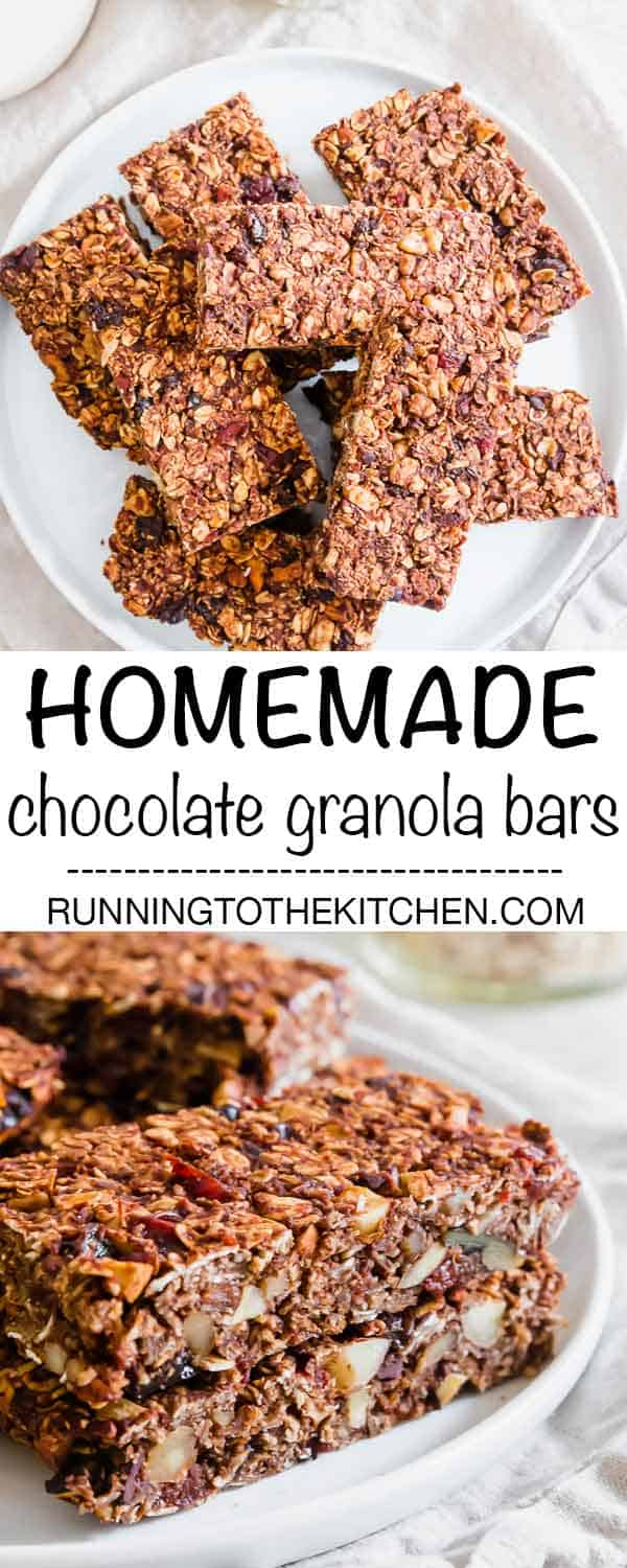 Naturally sweetened with just 8 nutritious ingredients, these chocolate granola bars are packed with fiber, protein and healthy fats for a great tasting snack. #chocolategranolabars