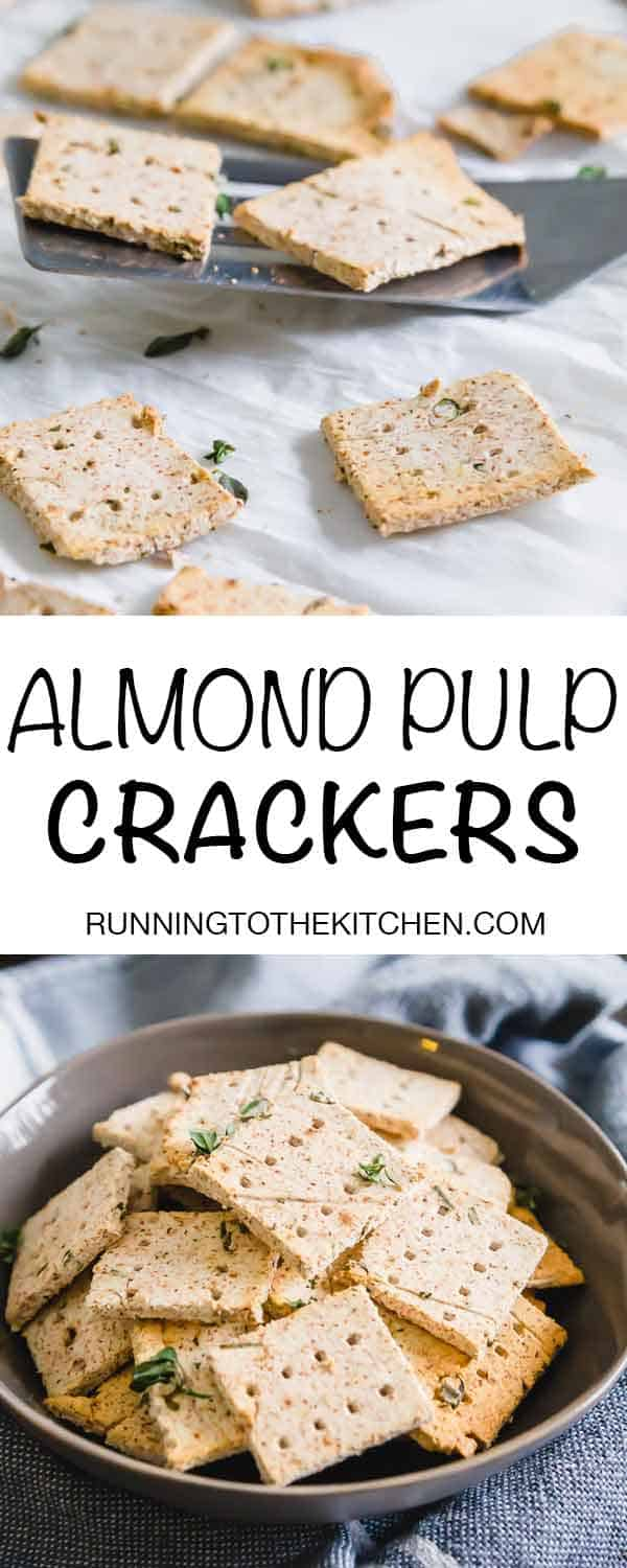 Need a way to use up leftover almond pulp from making almond milk? Try this easy almond pulp cracker recipe. Vegan/Gluten-Free/Paleo