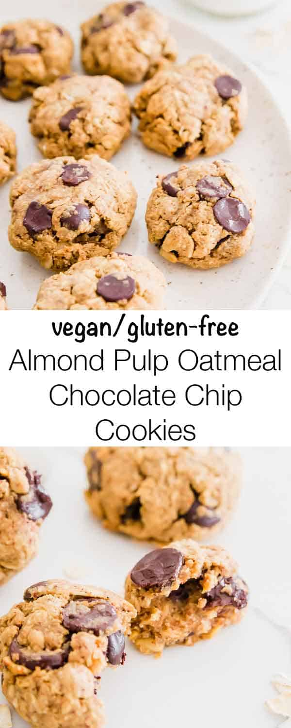 An easy recipe for vegan/gluten-free oatmeal chocolate chip cookies using leftover almond pulp.