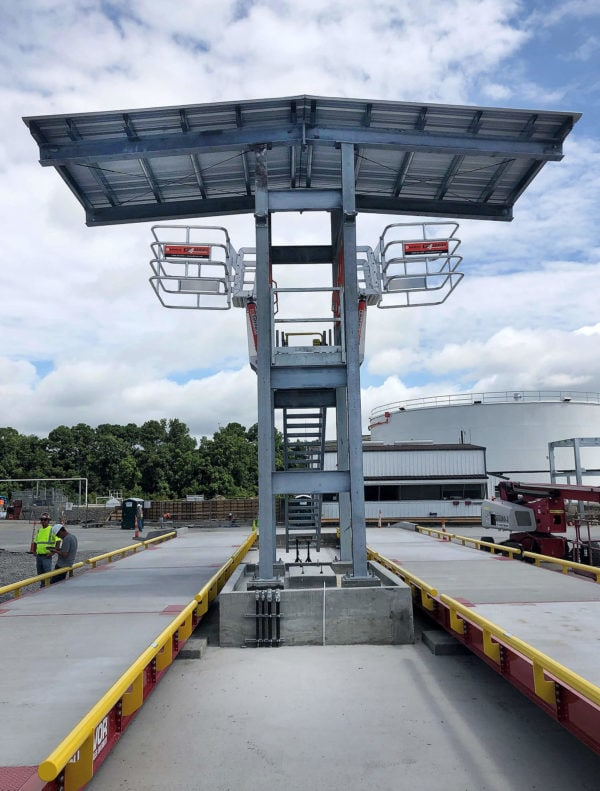 Installed canopy, loading platform and gangway system