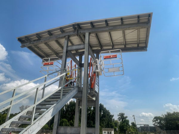 SafeRack Canopy Covered Double-sided Truck Loading Platform with SAS Gangways and YellowGate Fall Protection for Buckeye Partners Corporate in PA