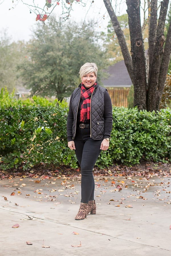 winter outfit with buffalo plaid and leopard