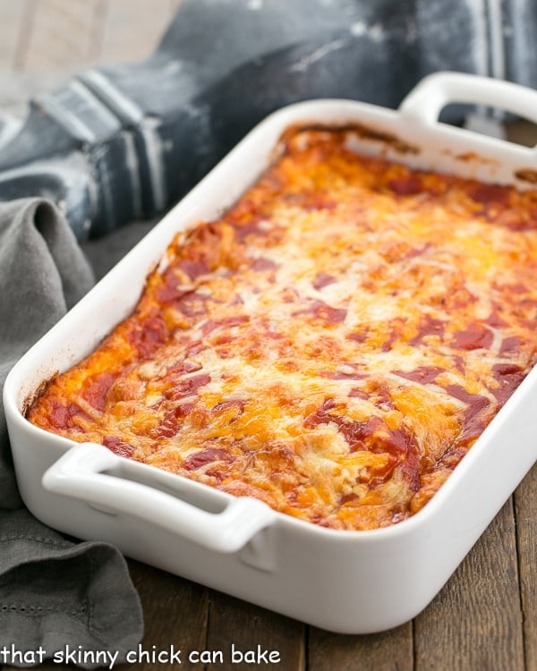 a white casserole dish with Chiles Rellenos Casserole
