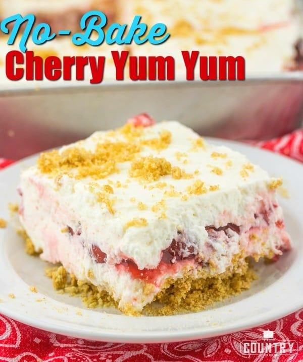 No-Bake Cherry Yum Yum dessert recipe from The Country Cook