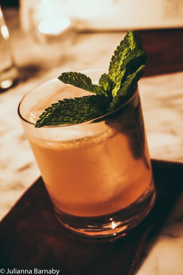 Spruce and root cocktail