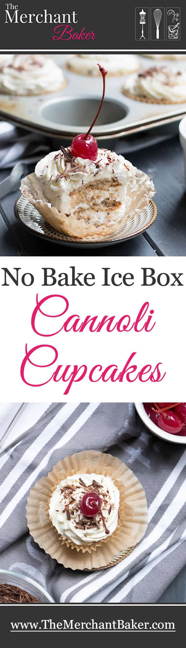 No Bake Ice Box Cannoli Cupcakes