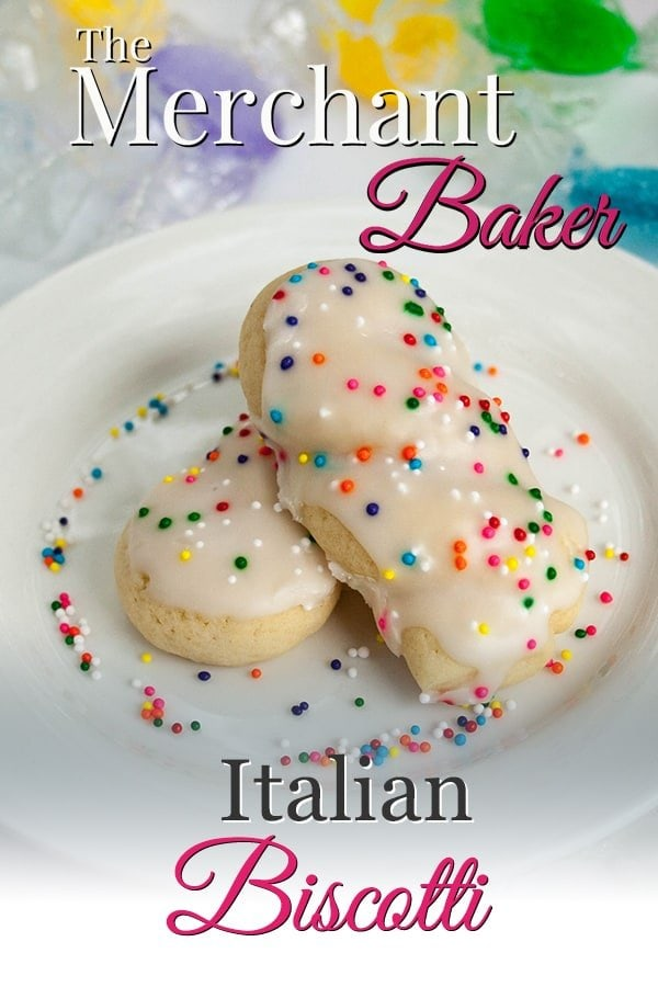 The Merchant Baker's Pinterest Pin image of Italian Biscotti