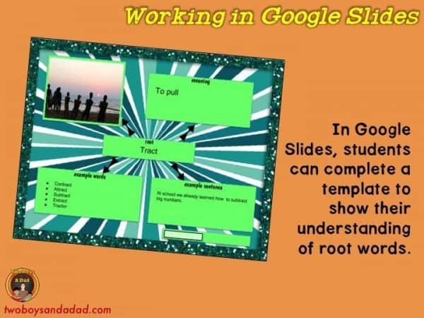 Studying root words using Google Slides in Elementary Grades