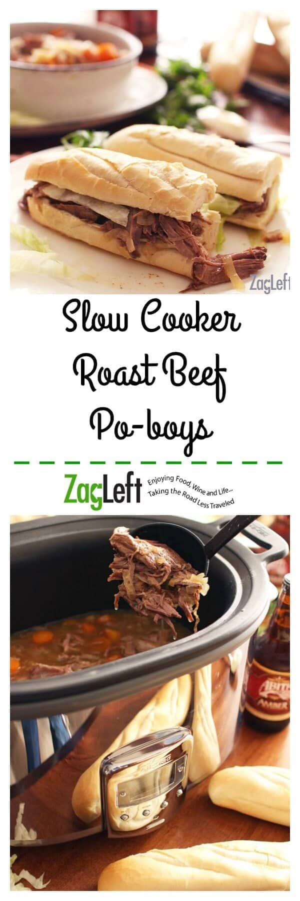 Roast Beef Po-boys - crusty french bread stuffed with juicy, fall-apart tender roast beef that's been slow cooking for hours, topped with lettuce, mayonnaise and lots of gravy. Good and sloppy, just like they make 'em in New Orleans.   www.zagleft.com