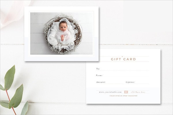 Newborn Photographer Gift Card Design