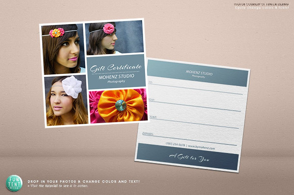 Printable Photography Gift Certificate Voucher Template