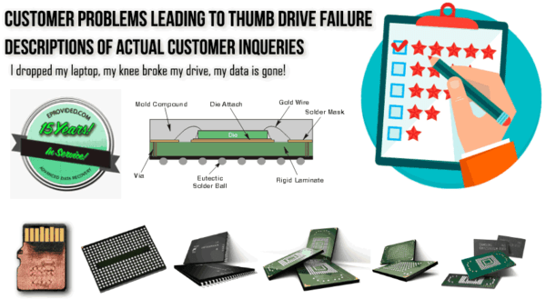 Actual customer testimonials, why customers lose data on thumb drives.