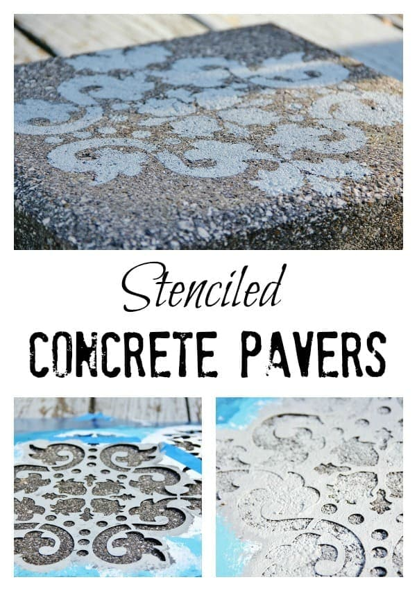 Stenciled concrete pavers add character to the outside of any home.