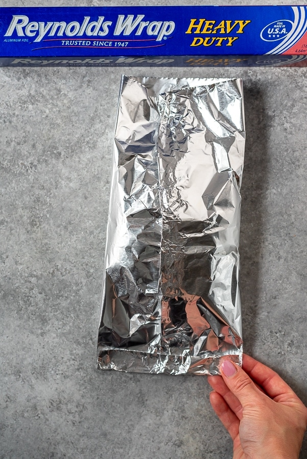 Aluminum foil packet step.