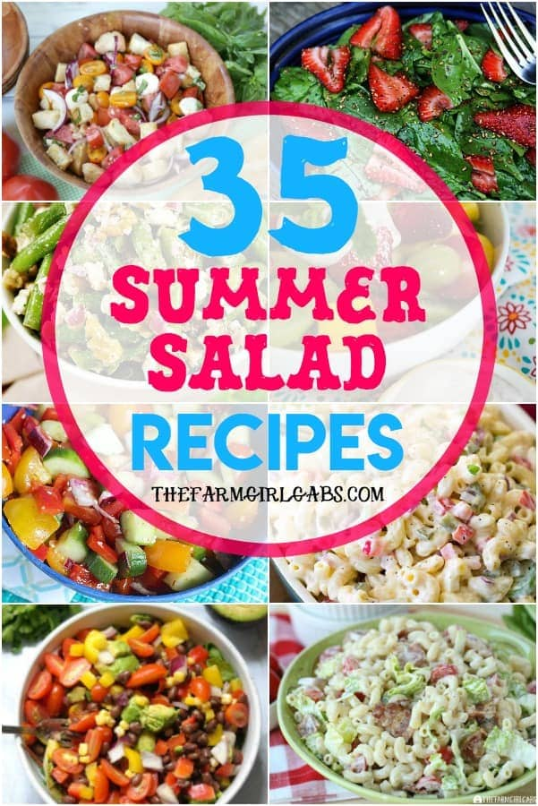 Memorial Day Weekend is here and that means it the official kickoff to summer. Planning to celebrate at a picnic or backyard BBQ? Here are 35 Summer Salad Recipes to celebrate summer. #saladrecipes #sidedishes #picnicrecipes #partyfood #summersalads