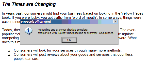Word spell check dialog about marked text getting skipped.