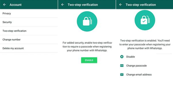 enable whatsapp two-step verification