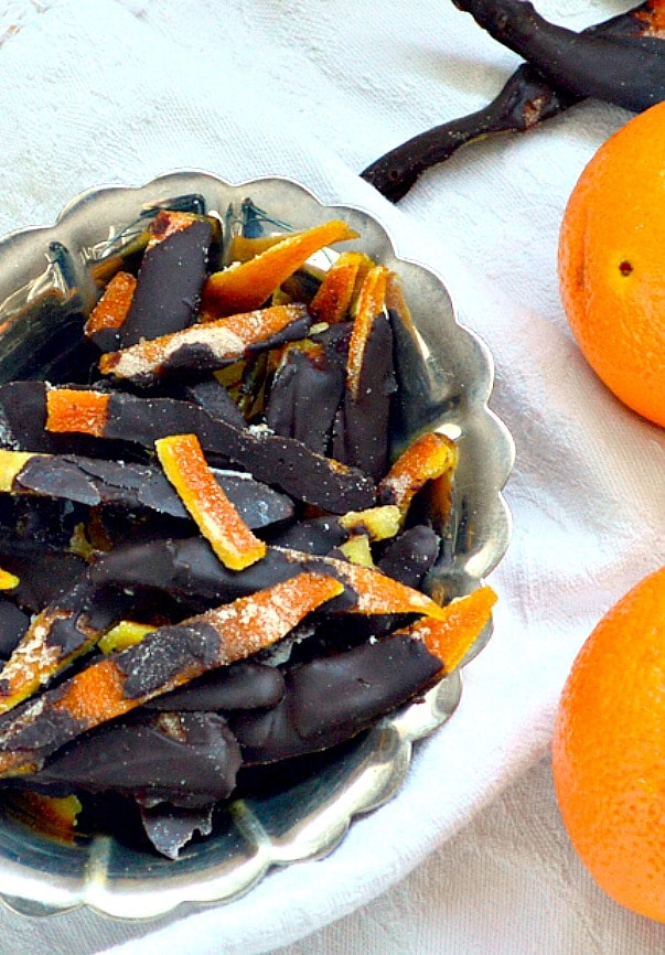 Dark chocolate covered candied orange peels