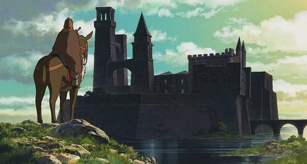 Gavilán, el archimago de Cuentos de Terramar, frente al castillo