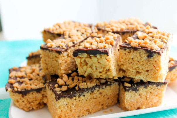 The Salted Cookie Chocolate Peanut Butter Rice Krispie Treats