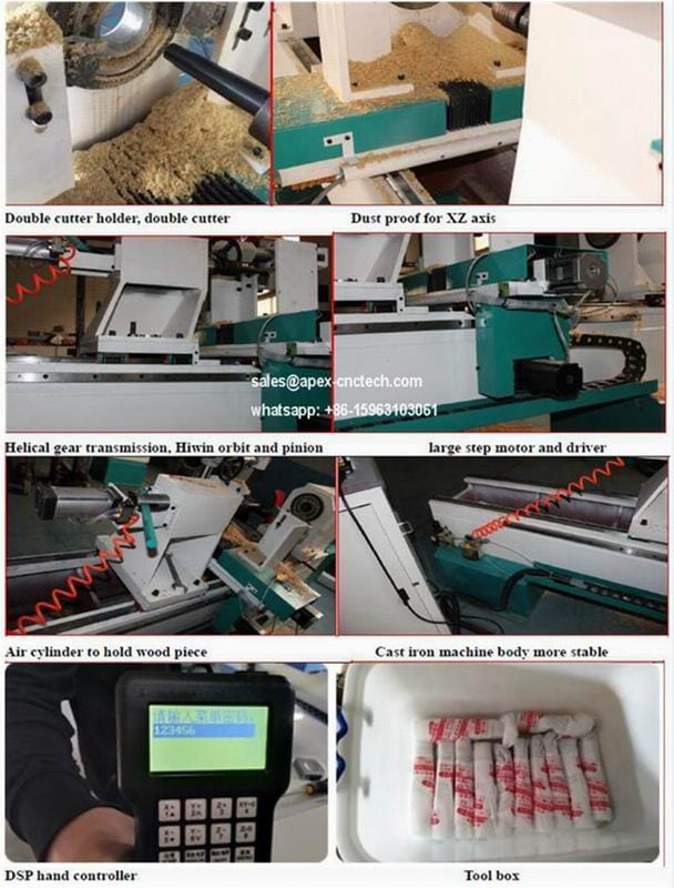1530 Single Axis Two Blades Wood Cnc Lathe and wood working copying turning lathe machine