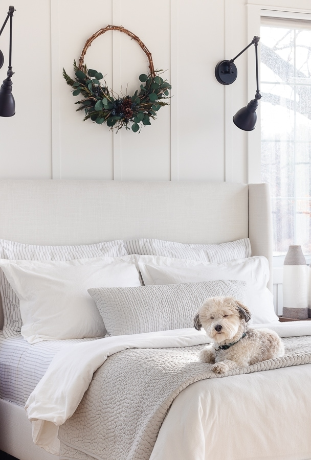 white and gray flannel winter bedding in lake house bedroom
