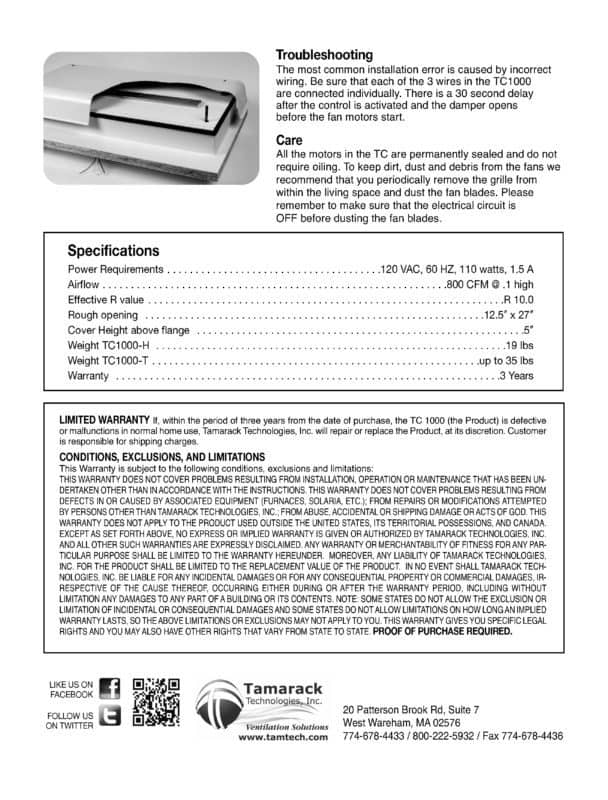 TC1000 Product Manual and Installation Guide Page 4
