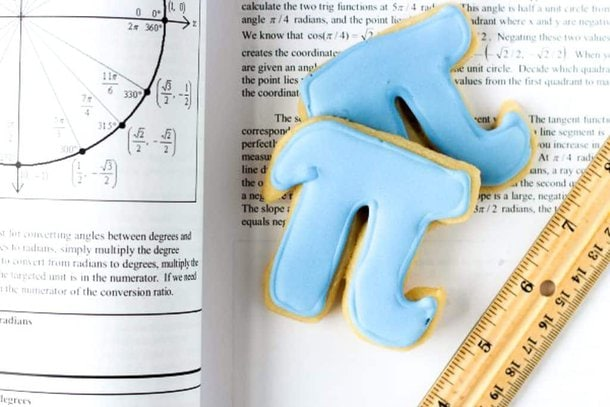 two pi cookies iced in blue royal icing