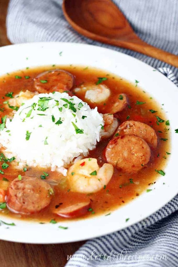Slow Cooker Sausage and Shrimp Gumbo