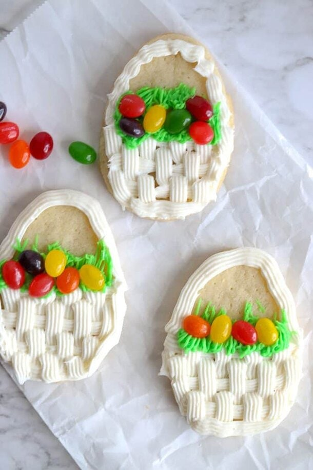 Easter Cookies in the shape of Easter Basket