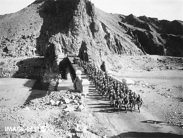View of the march en route to Razmak taken in 1936. This bridge is located between Bakakhel & Mir Ali on the road connecting Bannu & Miranshah.