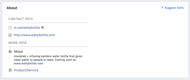 Facebook about section