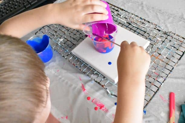 Kids paintings in progress