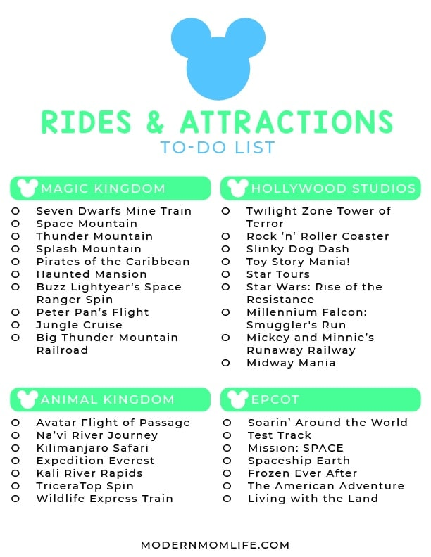 Disney world Rides and Attractions List