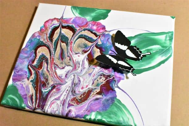 Acrylic Paint Pour + 3D paper butterfly mashup