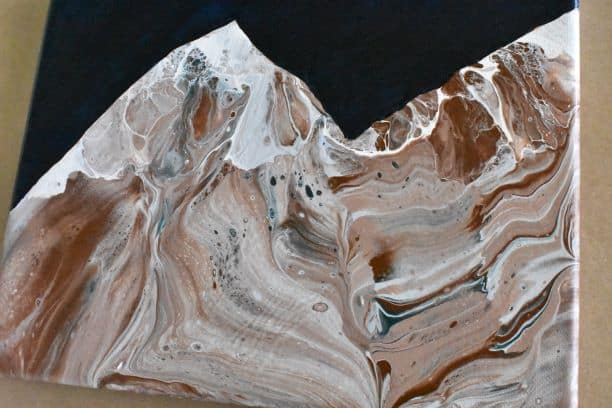 Acrylic Pour Mountain Painting
