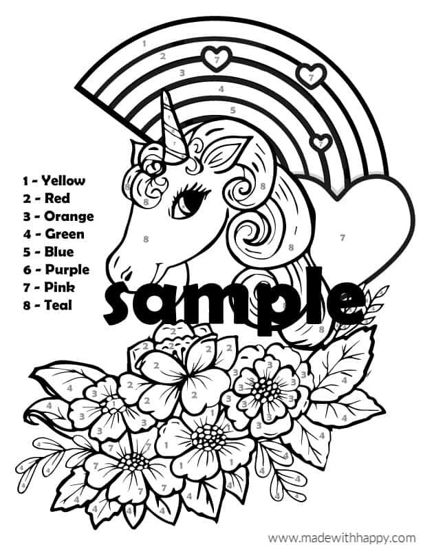 Unicorn Color By Number - Free Printable Unicorn Coloring ...
