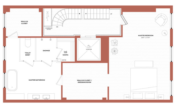 a spacious master bedroom floor plan in the third floor of a luxurious residence in New York